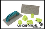 Mini Sand Castle Molds and Brick Stamping Trowel - Sand Sculpting Tool Set - Play Doh - Moving Sand