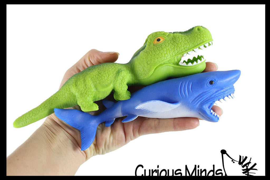 Set of 2 Sand Filled Squishy Animals - Dinosaur and Shark - Moldable Sensory, Stress, Squeeze Fidget Toy ADHD Special Needs Soothing Ocean Animal Dino