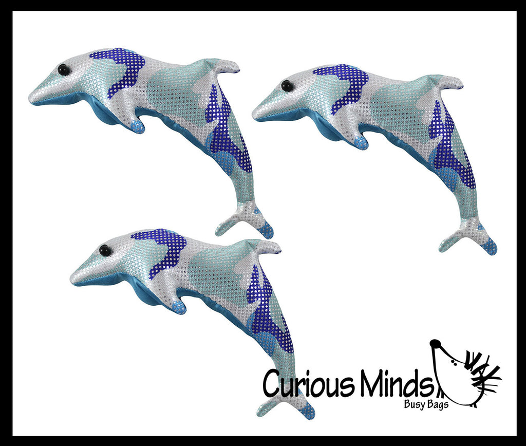 Dolphin Sand Filled Animal Toy - Heavy Weighted Sandbag Animal Plush Bean Bag Toss - Shimmering Glitter