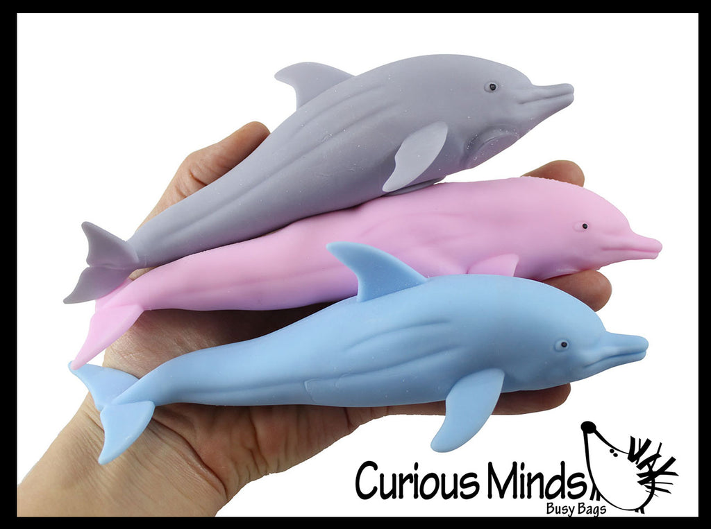 Sand Filled Squishy Dolphin - Moldable Sensory, Stress, Squeeze Fidget Toy ADHD Special Needs Soothing Ocean