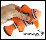 Fish Sand Filled Squishy - Moldable Sensory, Stress, Squeeze Fidget Toy ADHD Special Needs Soothing - Clownfish or Blue Tang