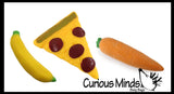 3 Sand Filled Food Squishy Bundle - Stretchy, Moldable Sensory, Stress, Squeeze Fidget Toy ADHD Special Needs OT Soothing Carrot/Banana/Pizza