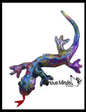 Lizard Sand Filled Animal Toy - Heavy Weighted Sandbag Animal Plush Bean Bag Toss - Shimmering Glitter Gecko