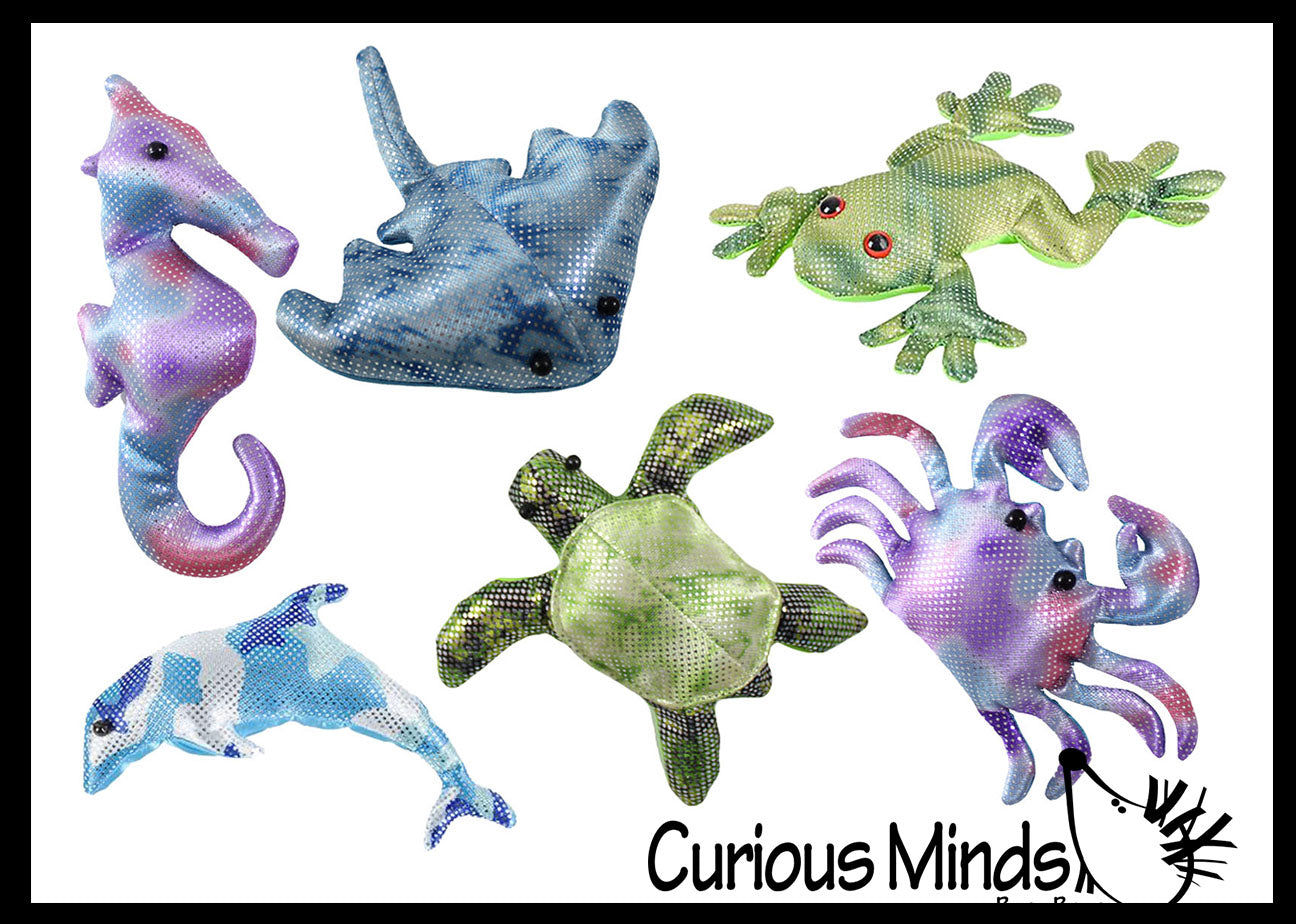 6 Ocean Animal Set -  Sand Filled Animal Toy - Seahorse, Crab, Turtle, Stingray, Dolphin, Frog - Heavy Weighted Sandbag Animal Plush Bean Bag Toss - Shimmering Glitter