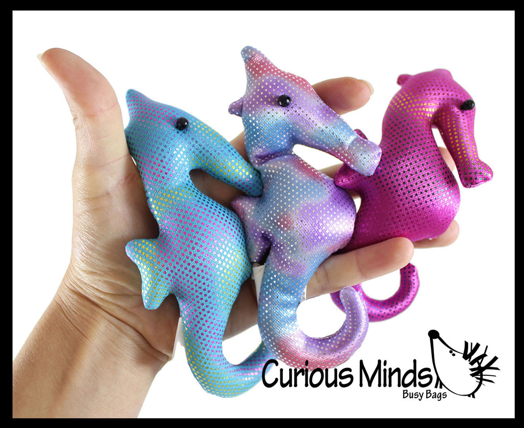 Seahorse Sand Filled Animal Toy - Heavy Weighted Sandbag Animal Plush Bean Bag Toss - Shimmering Glitter