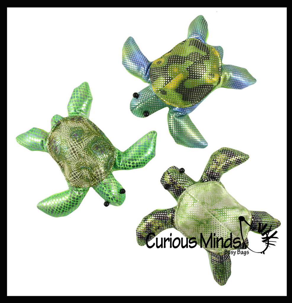 Turtle Sand Filled Animal Toy - Heavy Weighted Sandbag Animal Plush Bean Bag Toss - Shimmering Glitter