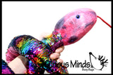 "Jumbo 64"" Plush Snake with Mermaid 2 Color Reversible Sequin Scales -  Stuffed Sensory Fidget Toy"