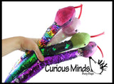 "26"" Plush Snake with Mermaid 2 Color Reversible Sequin Scales -  Stuffed Sensory Fidget Toy"