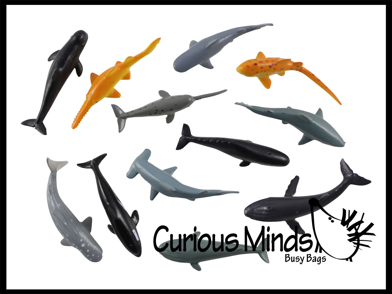 Miniature Sharks and Whales Animal Figurines Replicas
