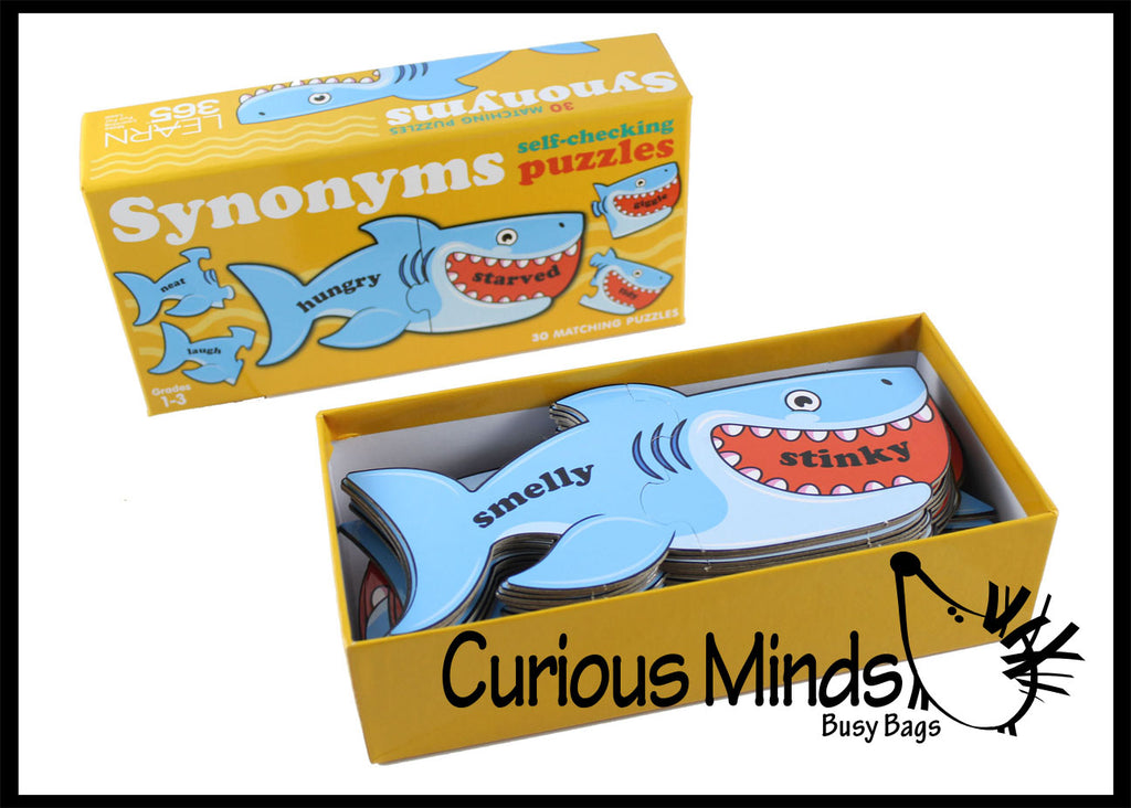 Shark Synonyms Word Matching Puzzle - Cute Themed Language Arts Teacher Supply