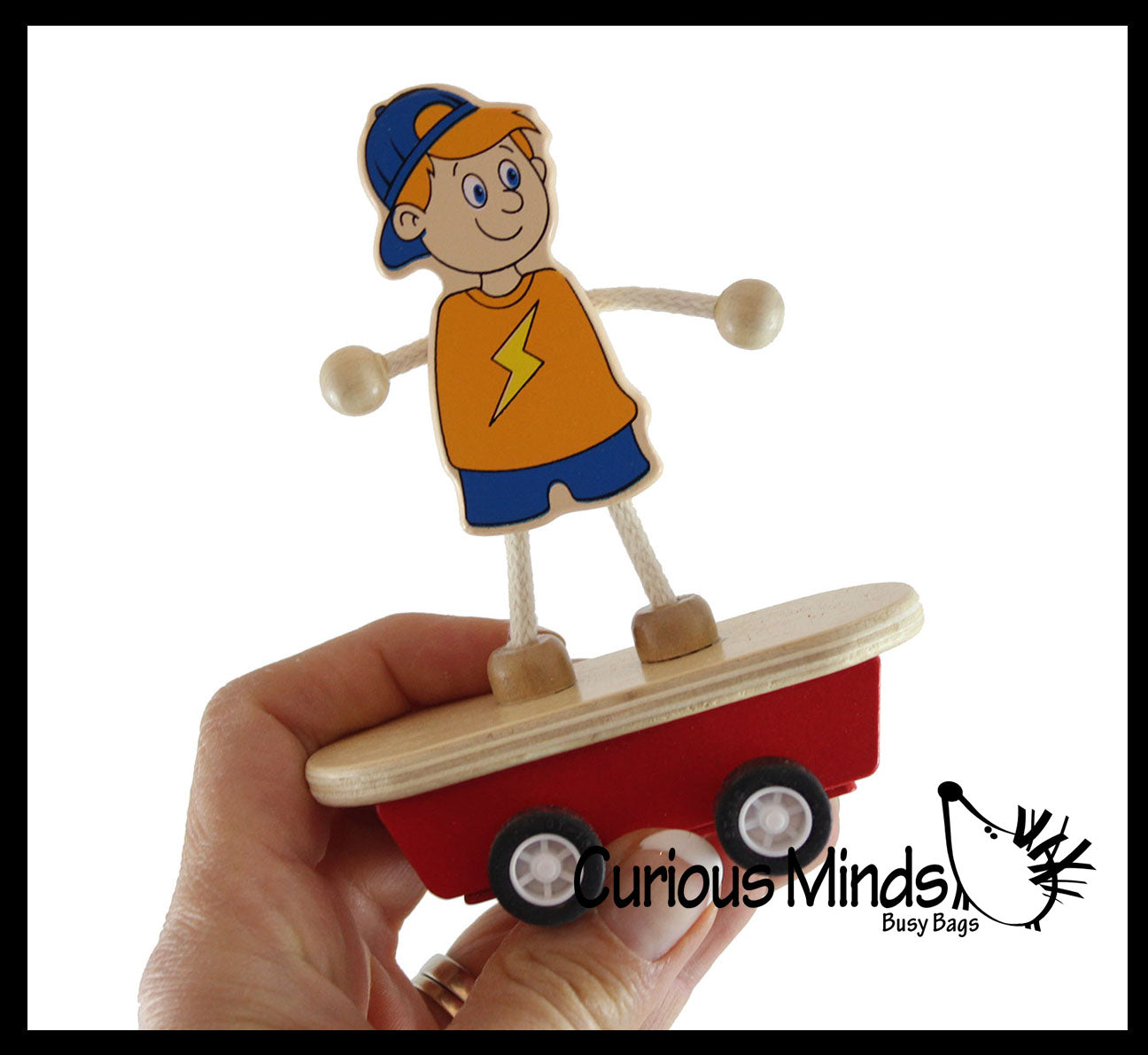 Skateboard Guy Pull Back Racer Cars - Wood Pullback Toy - Moves by Itself
