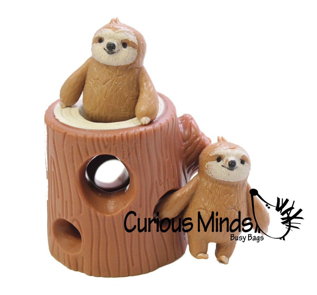 Sloths in Tree Stump - Peek a Boo Stretchy Fidget Toy
