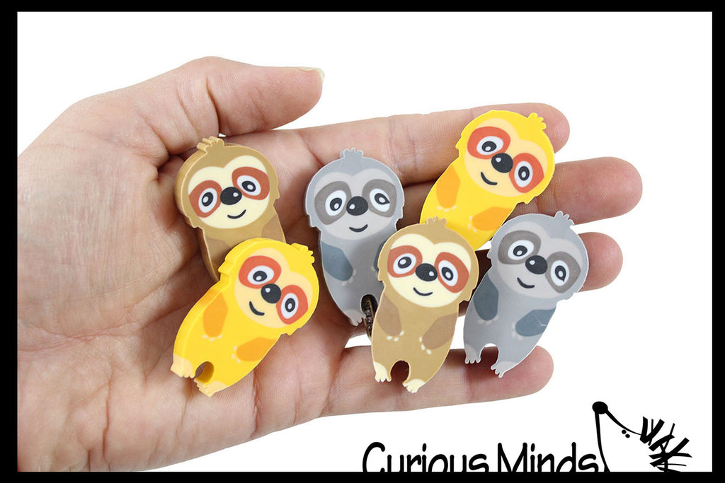 Sloth Large Adorable Erasers - Novelty and Functional Adorable Eraser Novelty Treasure Prize, School Classroom Supply, Math Counters - Sorting - Party Favor