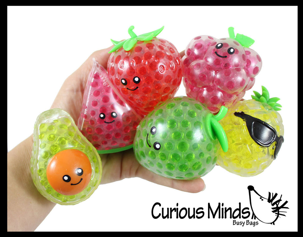 Small Fruit Water Bead Filled Squeeze Stress Balls with Faces  -  Sensory, Stress, Fidget Toy - Pineapple, Strawberry, Avocado, Watermelon, Apple, Grapes