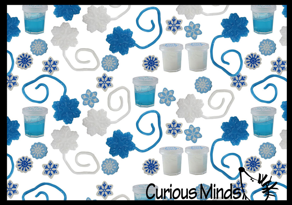 Set of 192 Snowflake Themed Party Favors - Slime, Sticky Snowflakes, Erasers -  White & Blue Snowflake Winter Toys - (16 Dozen)