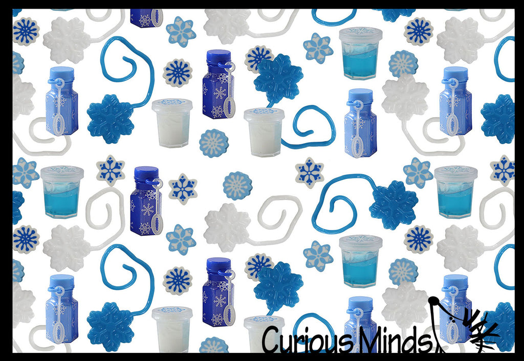 Set of 240 Snowflake Themed Party Favors - Slime, Sticky Snowflakes, Erasers, and Bubbles -  White & Blue Snowflake Winter Toys - (20 Dozen)