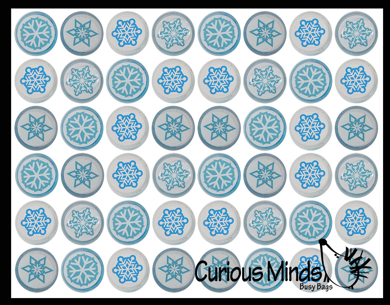 TINY White & Blue Snowflake Winter Slimes - Party Favors