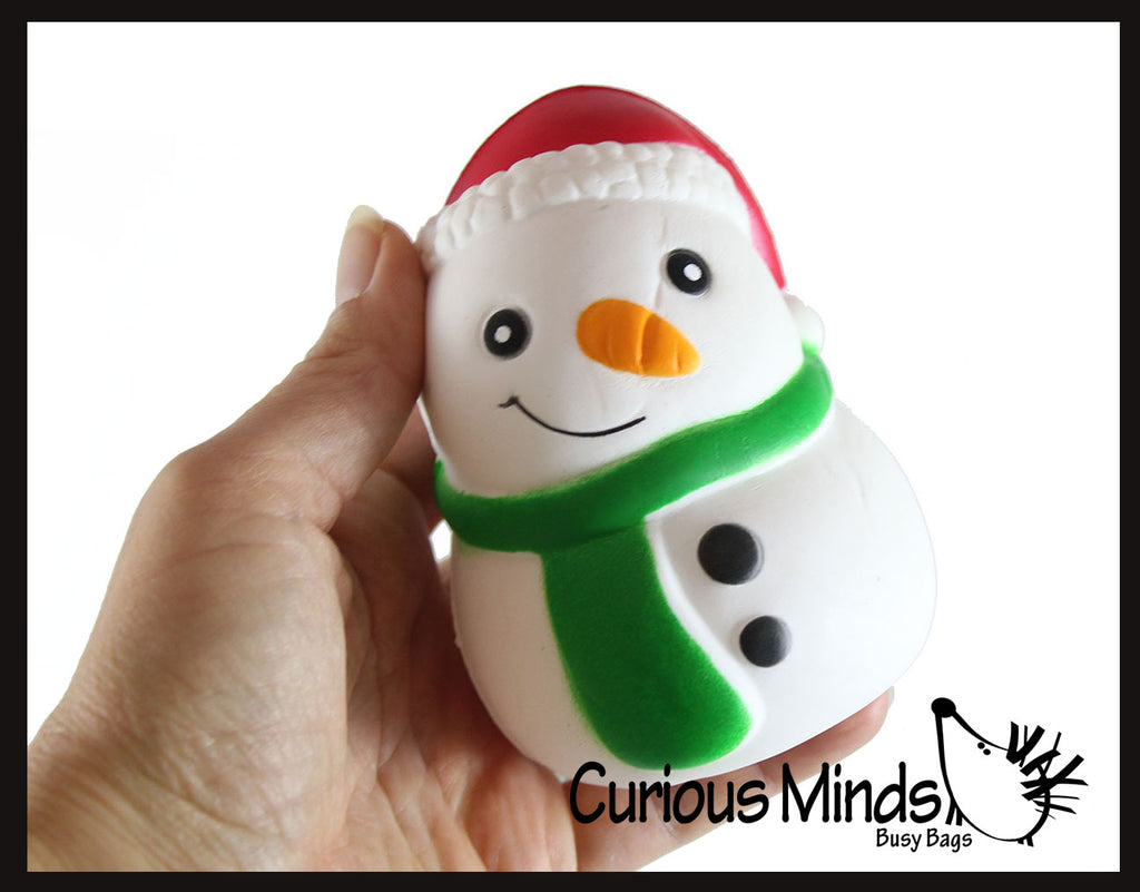 Large Snowman with Santa hat Slow Rise Squishy Toy - Memory Foam Squish Stress Ball - Winter Christmas