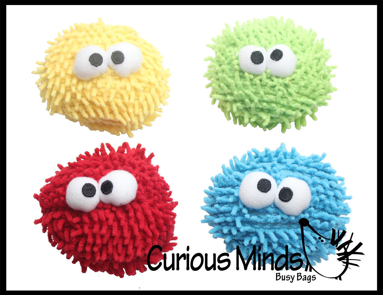 Hairy Microfiber Cute Ball - Dry Erase Eraser - Screen Cleaner - Sensory Fidget Toy