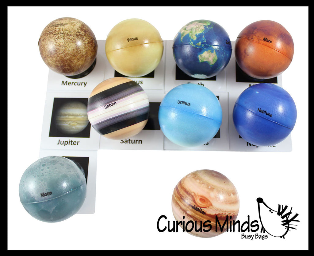 Universe Solar System Match with Cards Stress Ball Toy Set - Educational Learning Toy - Outer Space Planets