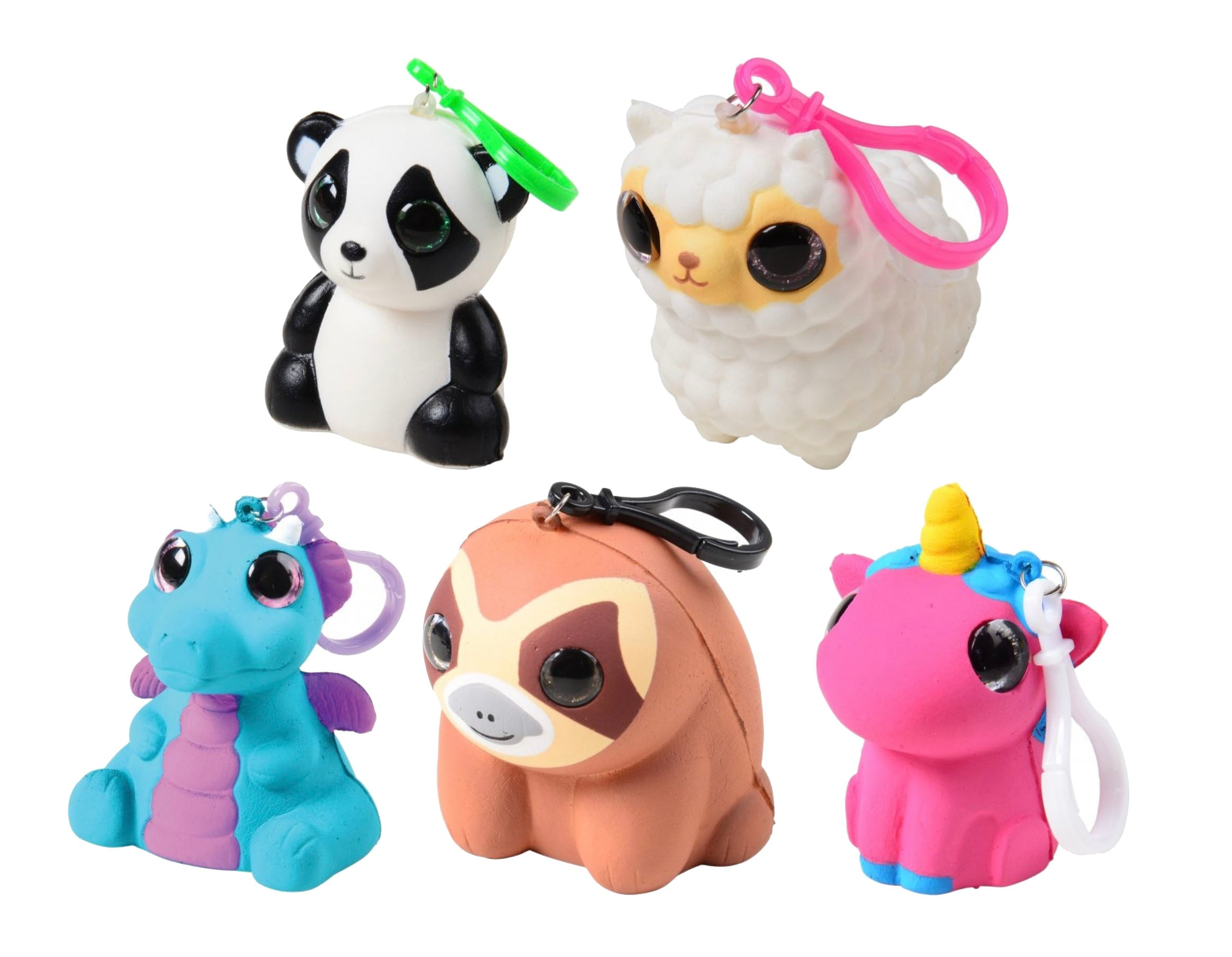 Slow Rise Memory Foam Animals - Adorable Clips with Glitter Eyes -  Keychain Purse Backpack Bag Charm Toy