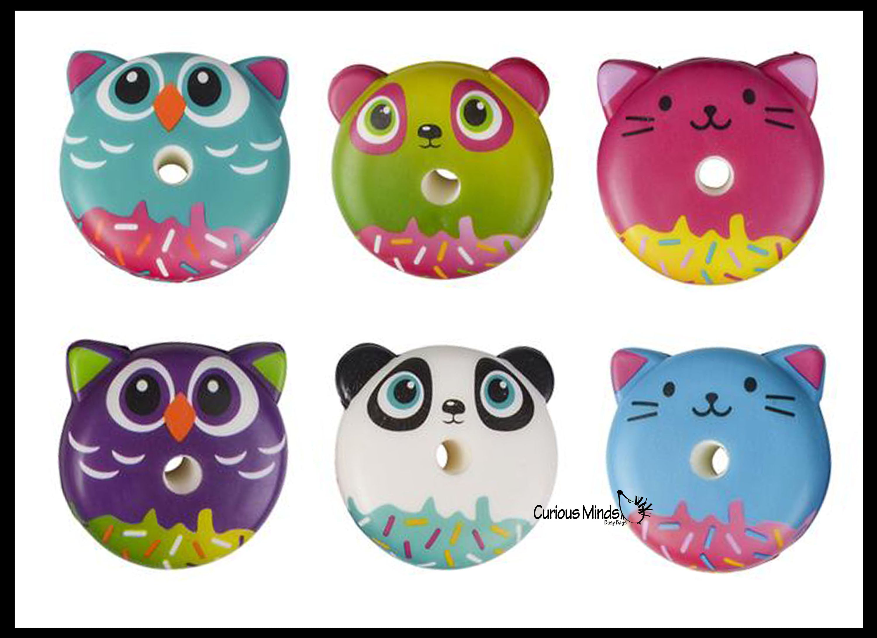 Squishy Slow Rise Donut Animals - Cat, Panda, Owl -  Scented Sensory, Stress, Fidget Toy