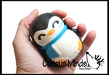 Set of 4 Christmas Winter Animal Slow Rise Squishy Toys - Memory Foam Squish Stress Ball - Penguin, Snowman, Polar Bear, Santa