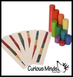 Wooden Stair Block Patterns - 10 Colorful Wooden Blocks and Cards