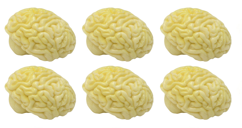Set of 6 Sticky Brain Ceiling Target Balls - Throw Globs to Stick to Ceiling and Catch When it Falls -  Sensory, Stress, Fidget Toy