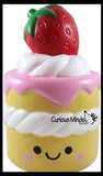 JUMBO Strawberry Shortcake Squishy Slow Rise Foam Food Fruit -  Scented Sensory, Stress, Fidget Toy