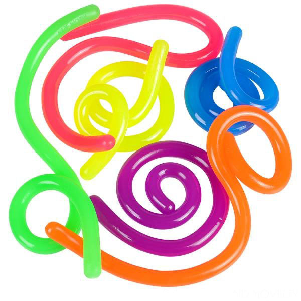 "Stretch String Fidget Toy- Worm Noodle Strings Fidget Toy - 14"" Long, Thick, Build Resistance for Strengthening Exercise, Pull, Stretchy, Fiddle"