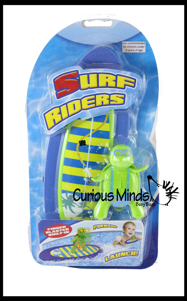 Surfing Turtle - Moving Pool or Bath Toy - Pull String to Make it Surf