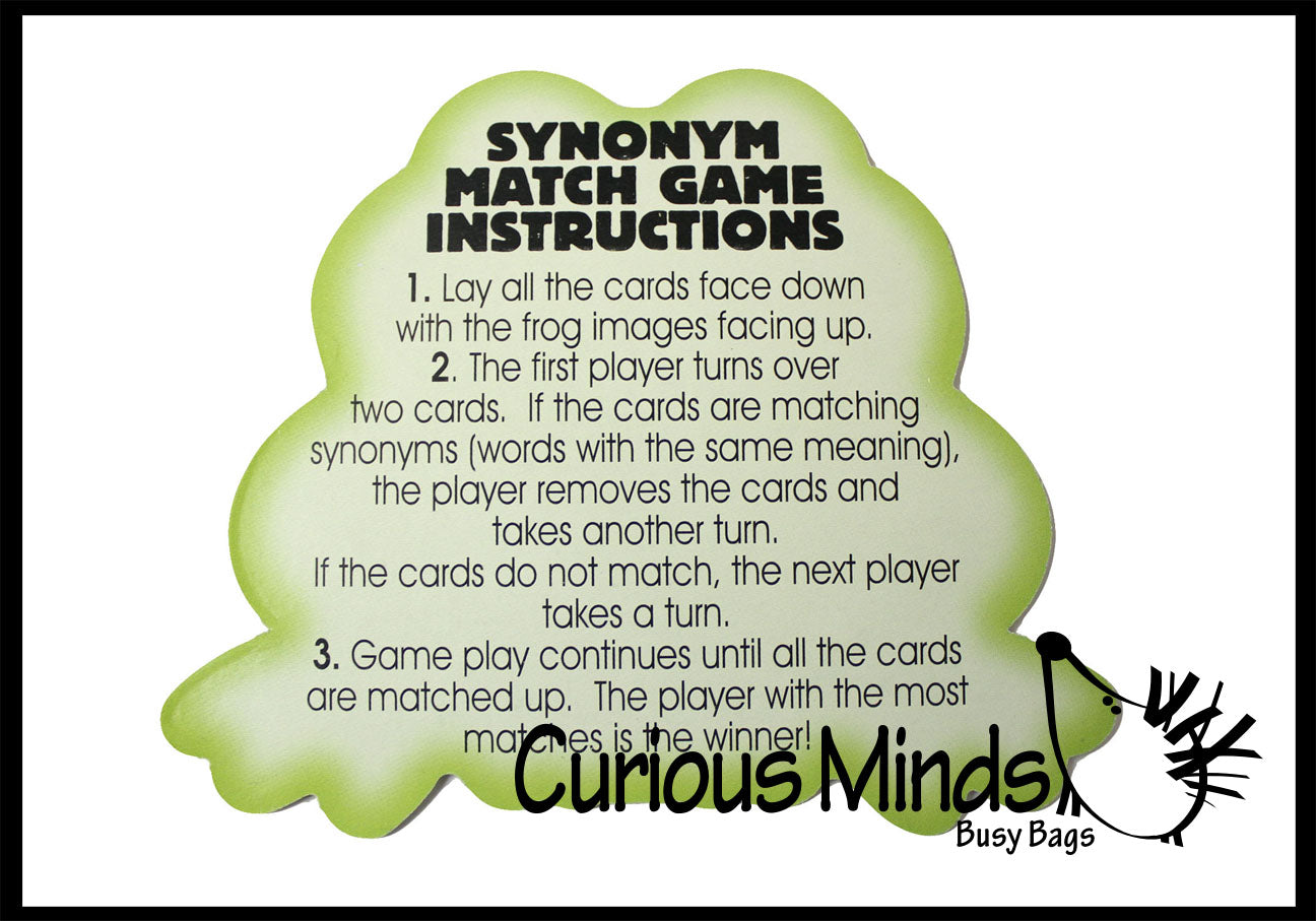synonym match game word language arts supply teacher busy curious minds bags