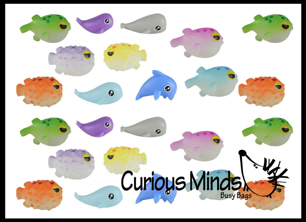 Curious Minds Busy Bags Miniature Animal Assortment with White Wolf Figurines Replicas Miniature Animal Playset Mini Action Figures Replicas