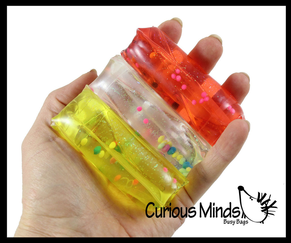 Tiny Water Filled Tube Snake Stress Toy - Squishy Wiggler Sensory Fidget Ball
