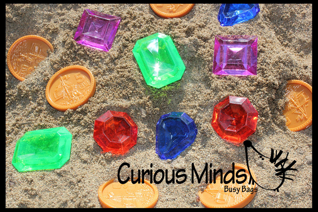 Large Gem and Coin Treasure Hunt Sand Toy - Dig sift and find buried coins jewels and gems.  Sensory bin