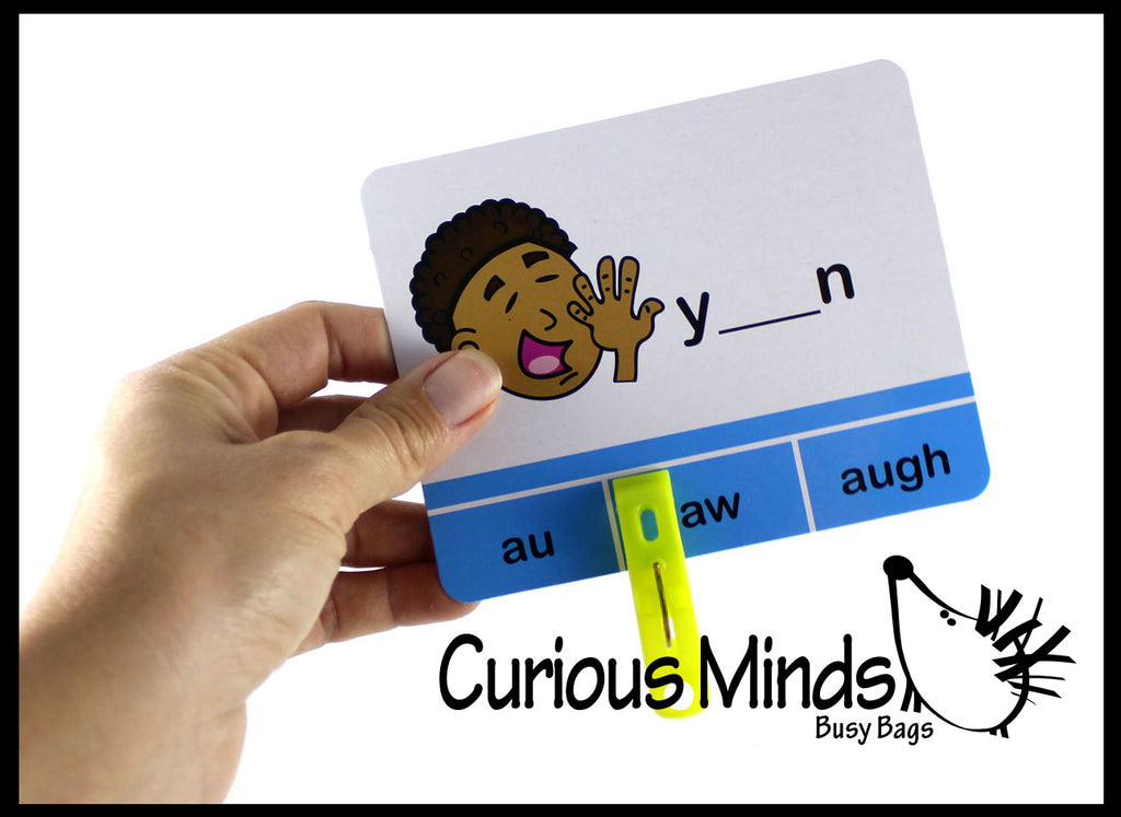 Tricky Vowels Clip Card Puzzle - Language Arts Teacher Supply - Dipthongs