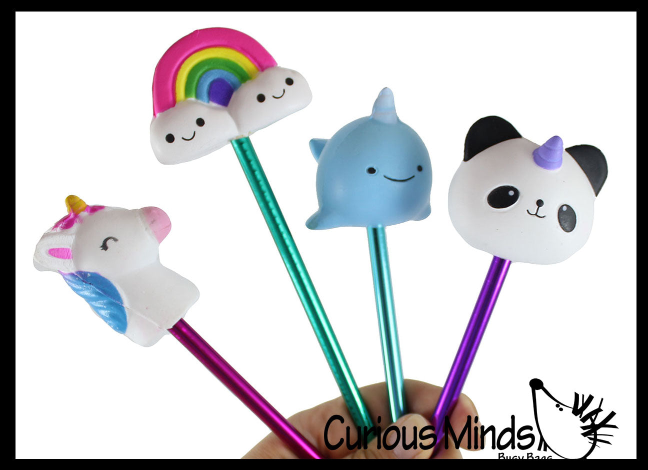 Slow Rise Horn Mystical Animals Unicorn/Panda/Narwhal/Rainbow Pen - Soft Scented Cute Pens - Office School