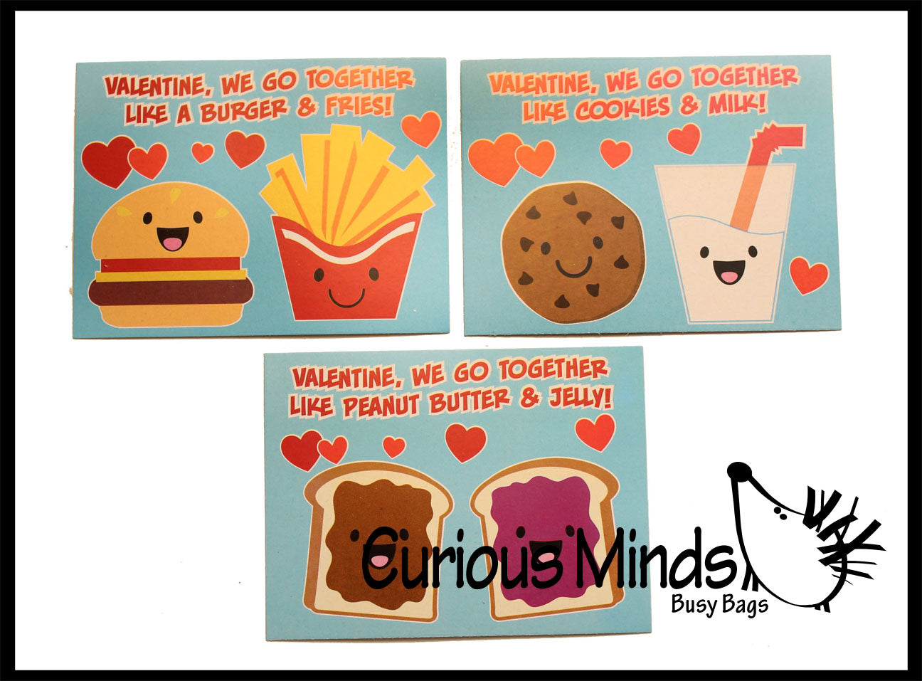 We Go Together Adorable Valentine's Day Cards for Kids - Cute Valentine for Classroom Exchange - Twins