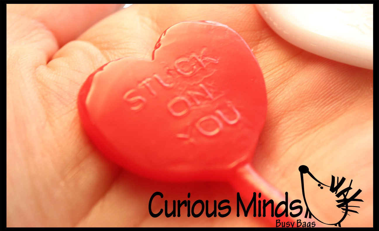 "Fun ""Stuck on You"" Valentine Heart Sticky Hand Toy - Unique Valentines Day Cards for Kids"