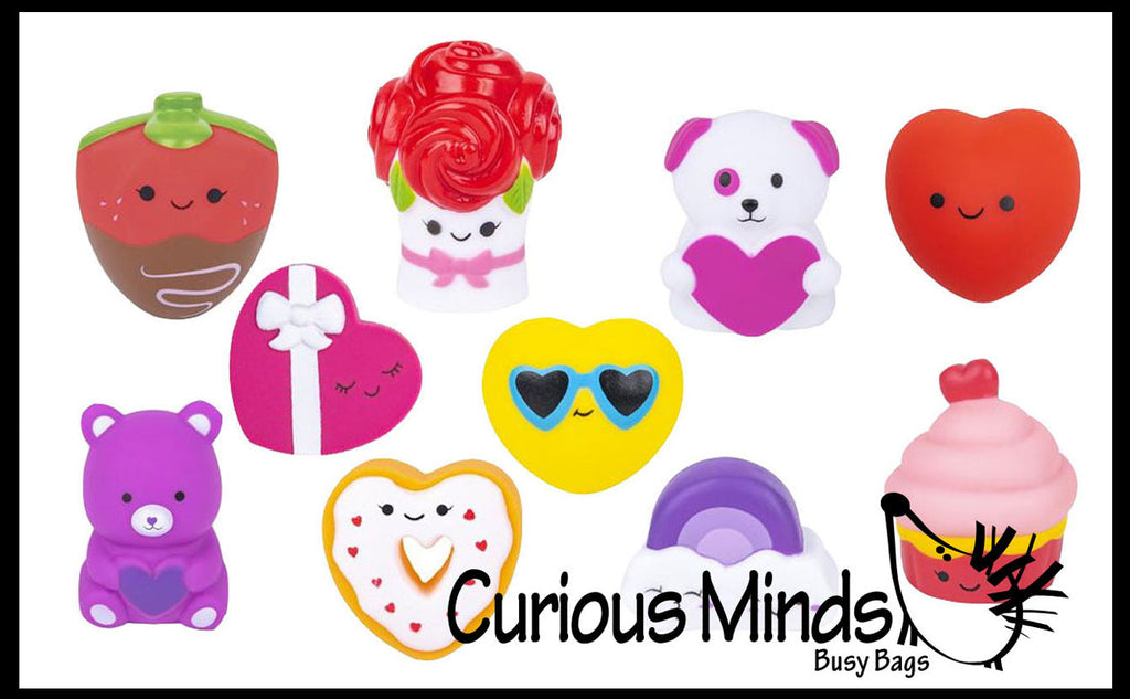 Vinyl Valentines Day Figures - Flowers, Candy, Bears, Roses - Love Valentine Themed  - Unique Valentines Day Cards for Kids