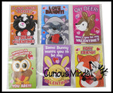 Cute Animal Buttons Valentines Day Cards for Kids - Unique Pins