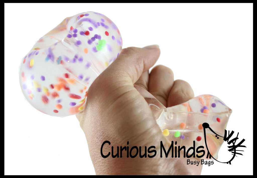 Large Confetti Ball Water Trick Snake Filled with Water Beads - Stress Toy - Slippery Tricky Wiggly Wiggler Tube - Squishy Wiggler Sensory Fidget Ball