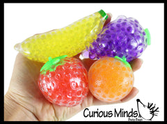 4 Fruit Water Bead Filled Squeeze Stress Balls  -  Sensory, Stress, Fidget Toy