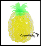 Yellow Pineapple Fruit Water Bead Filled Clear Squeeze Stress Ball  -  Sensory, Stress, Fidget Toy Pine Apple