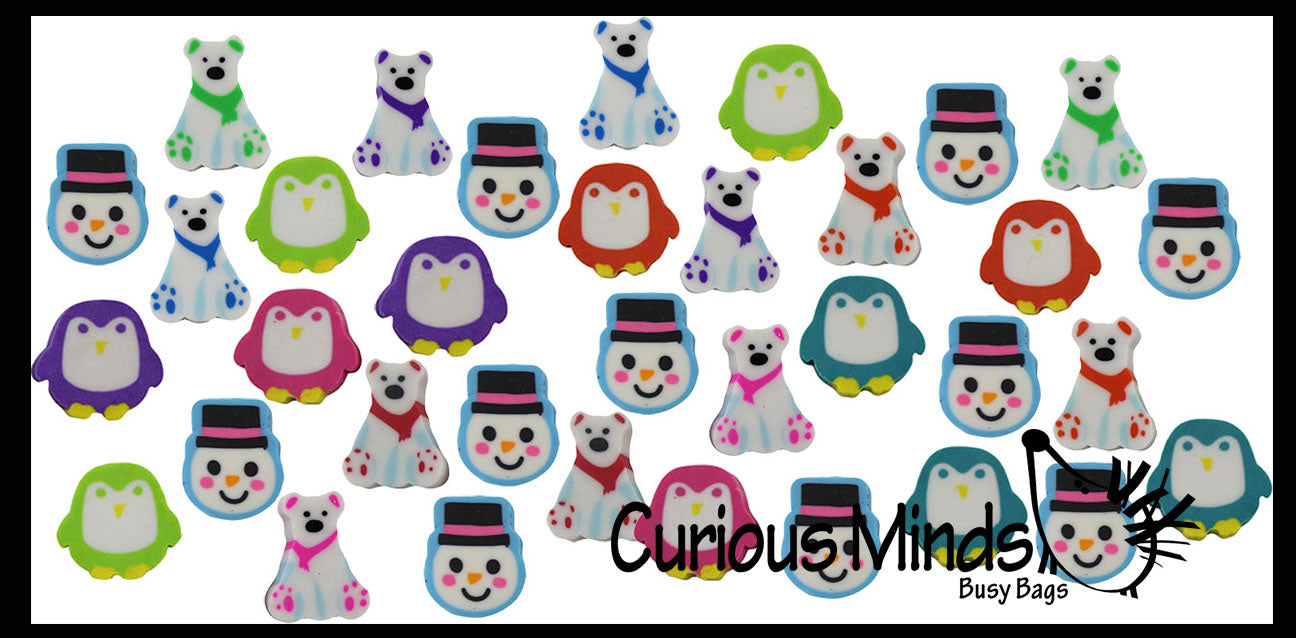 432 Winter Animal Eraser Set - Snowman, Penguin, Polar Bear Mini Erasers - Novelty and Functional Adorable Eraser Novelty Treasure Prize, School Classroom Supply, Math Counters - Sorting - Party Favor (36 Dozen)