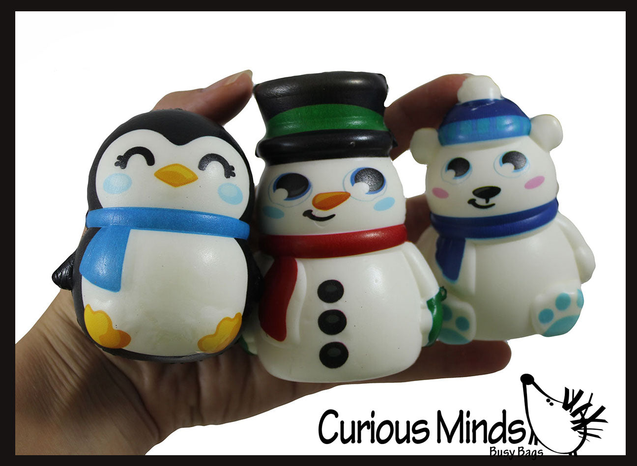 Set of 3 Winter Animal Slow Rise Squishy Toys - Memory Foam Squish Stress Ball - Penguin, Snowman, Polar Bear