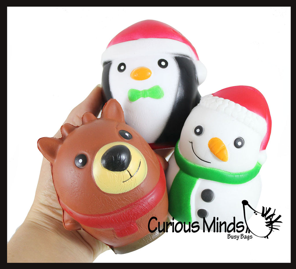 Set of 3 Winter Themed Slow Rise Squishy Toys - Penguin, Snowman, Polar Bear - Memory Foam Squish Stress Ball - Winter Christmas
