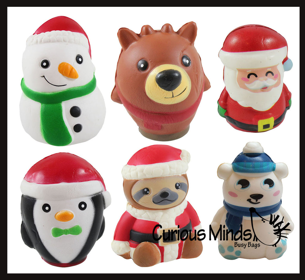Set of 6 Winter Themed Slow Rise Squishy Toys - Penguin, Snowman, Polar Bear, Santa, Reindeer, Sloth - Memory Foam Squish Stress Ball - Winter Christmas