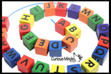 Large 3/4 Inch Colorful Wood Alphabet Beads.  A-Z Lacing Beads